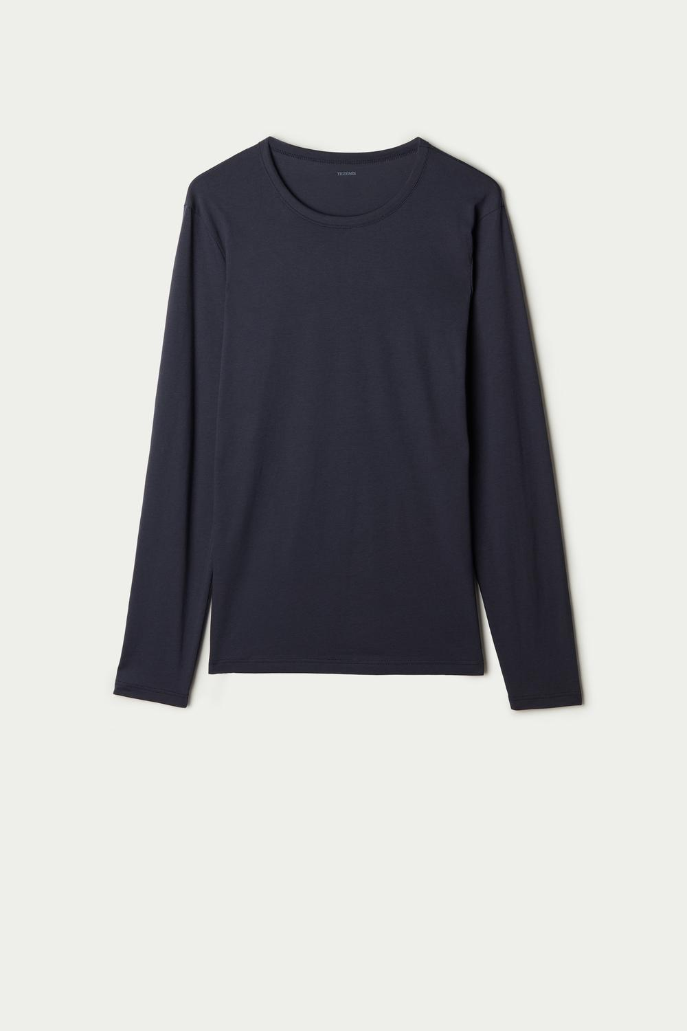 Long-Sleeve Round-Neck Cotton-Jersey Top