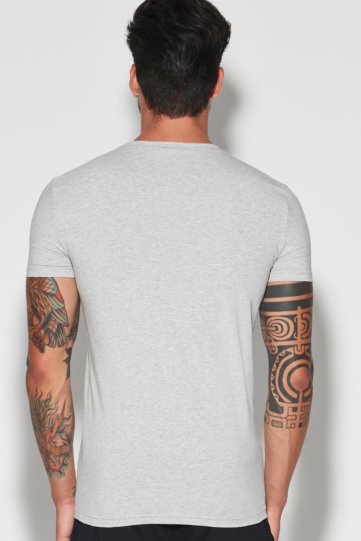 T-shirt Scollo a V in Cotone Elasticizzato