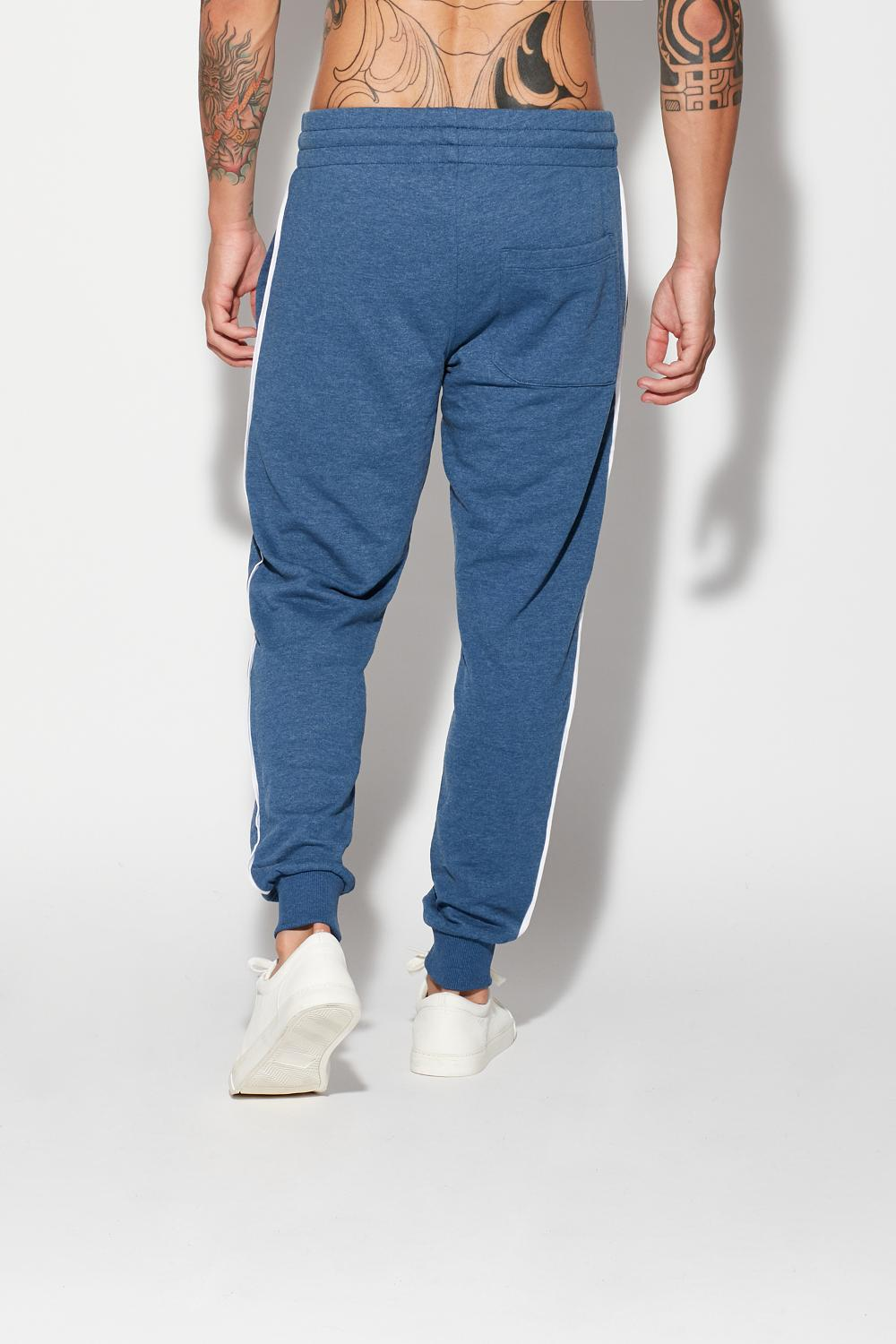 Long Sweatshirt Fabric Trousers With Piping Detail