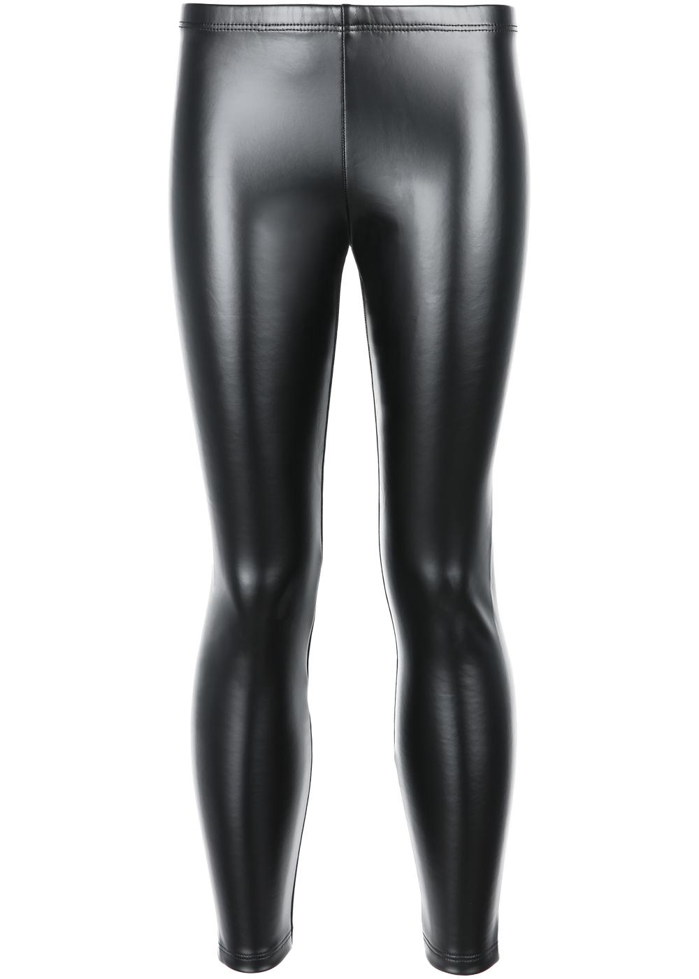 Girl's thermal leather-effect leggings
