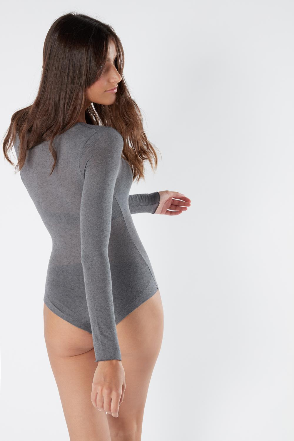 Modal and Cashmere Long-Sleeve Bodysuit