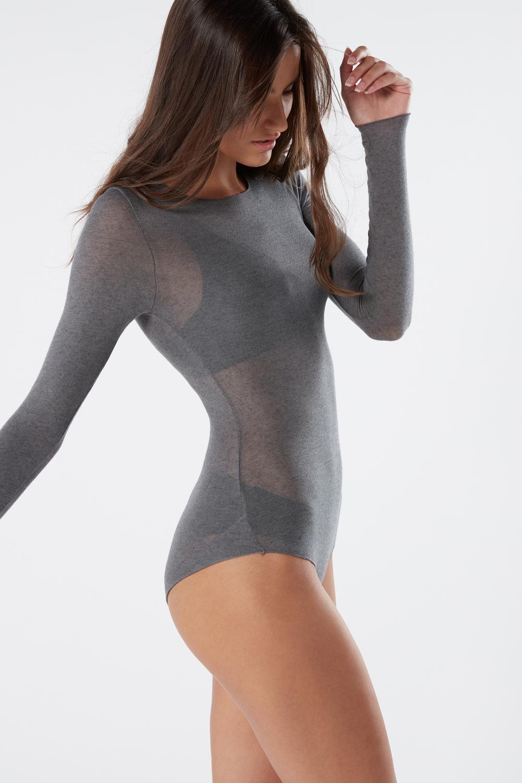 Body a Manica Lunga in Modal Cashmere Ultralight