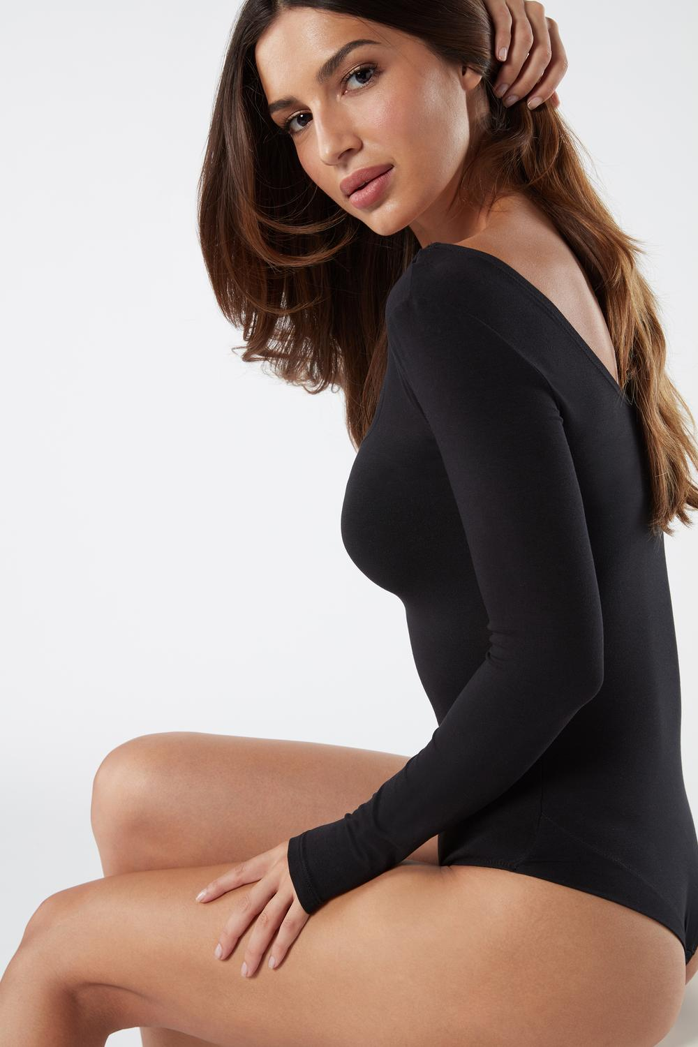 Long-Sleeve Modal Bodysuit with Scoop Neck