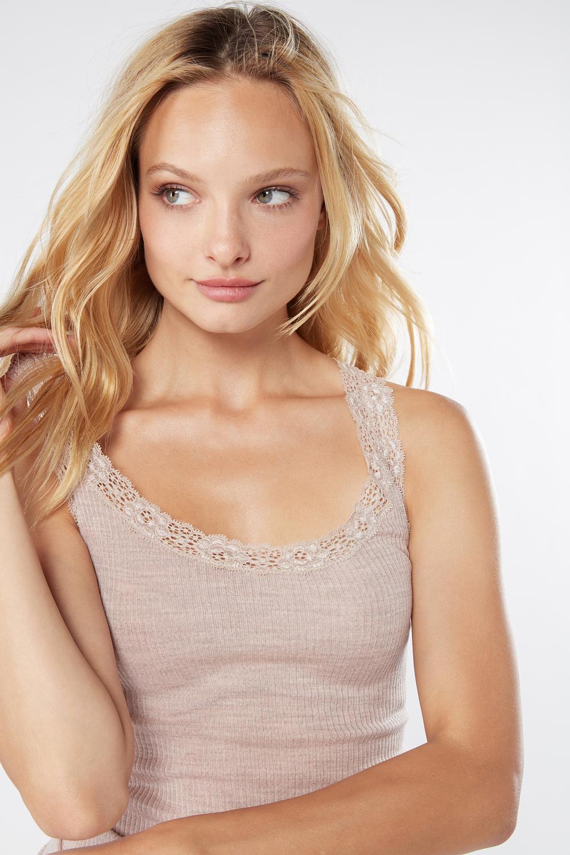 Camiseta tubular lana y seda con encaje