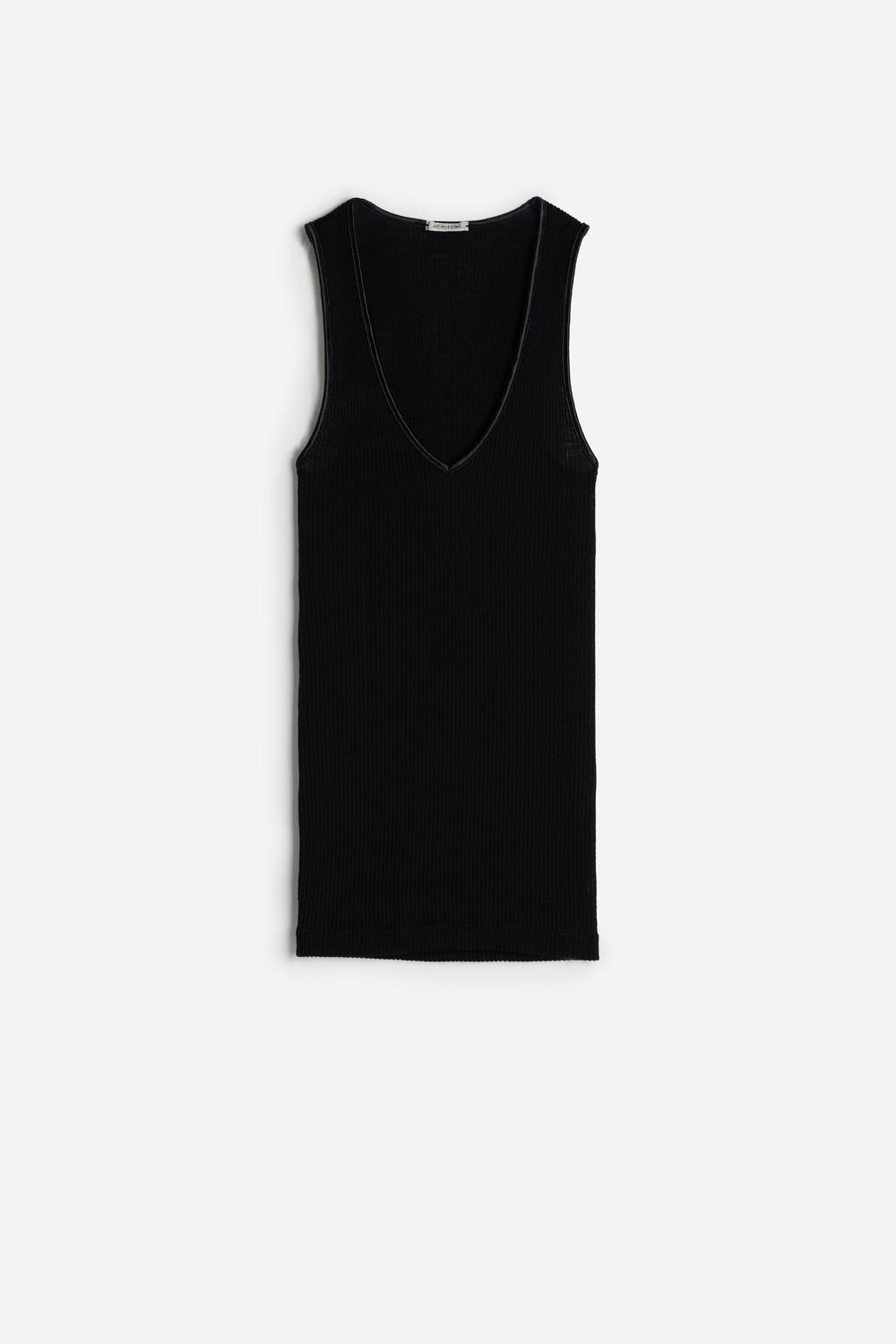 Silk and Wool Vest Top with Satin-Detail V-Neck