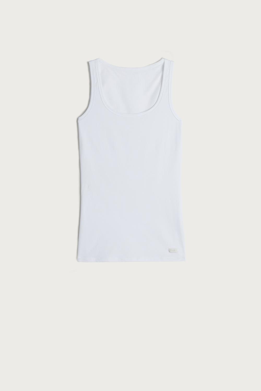 Natural Cotton Wide Shoulder TankTop