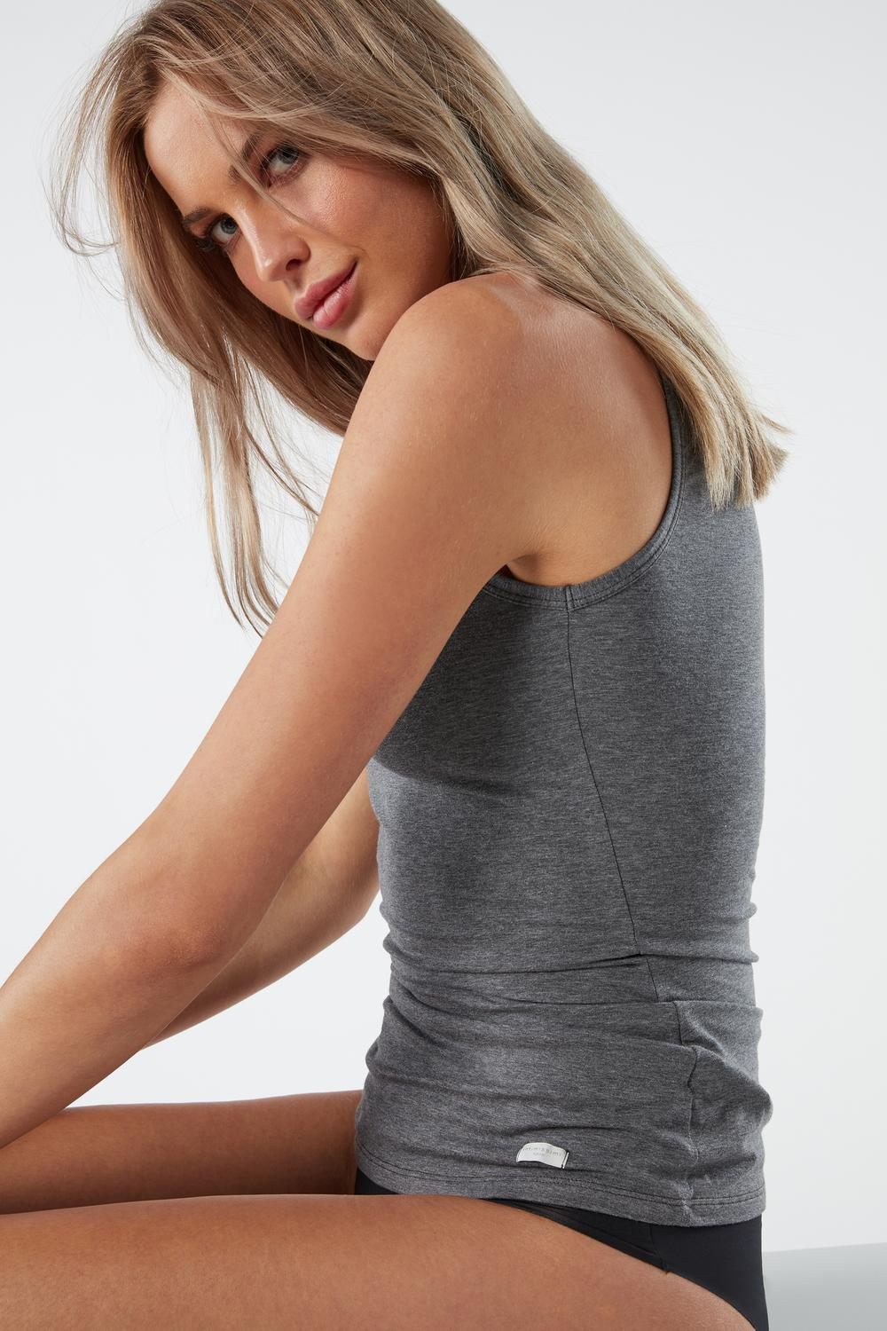 Natural Cotton Wide Shoulder Tank Top