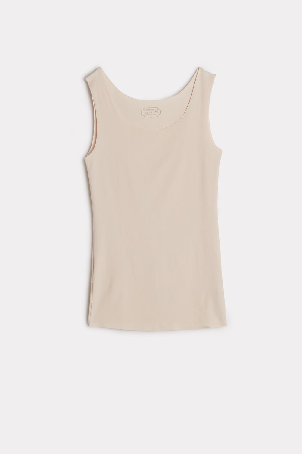 Raw-Edge Round-Neck Supima® Cotton Vest Top