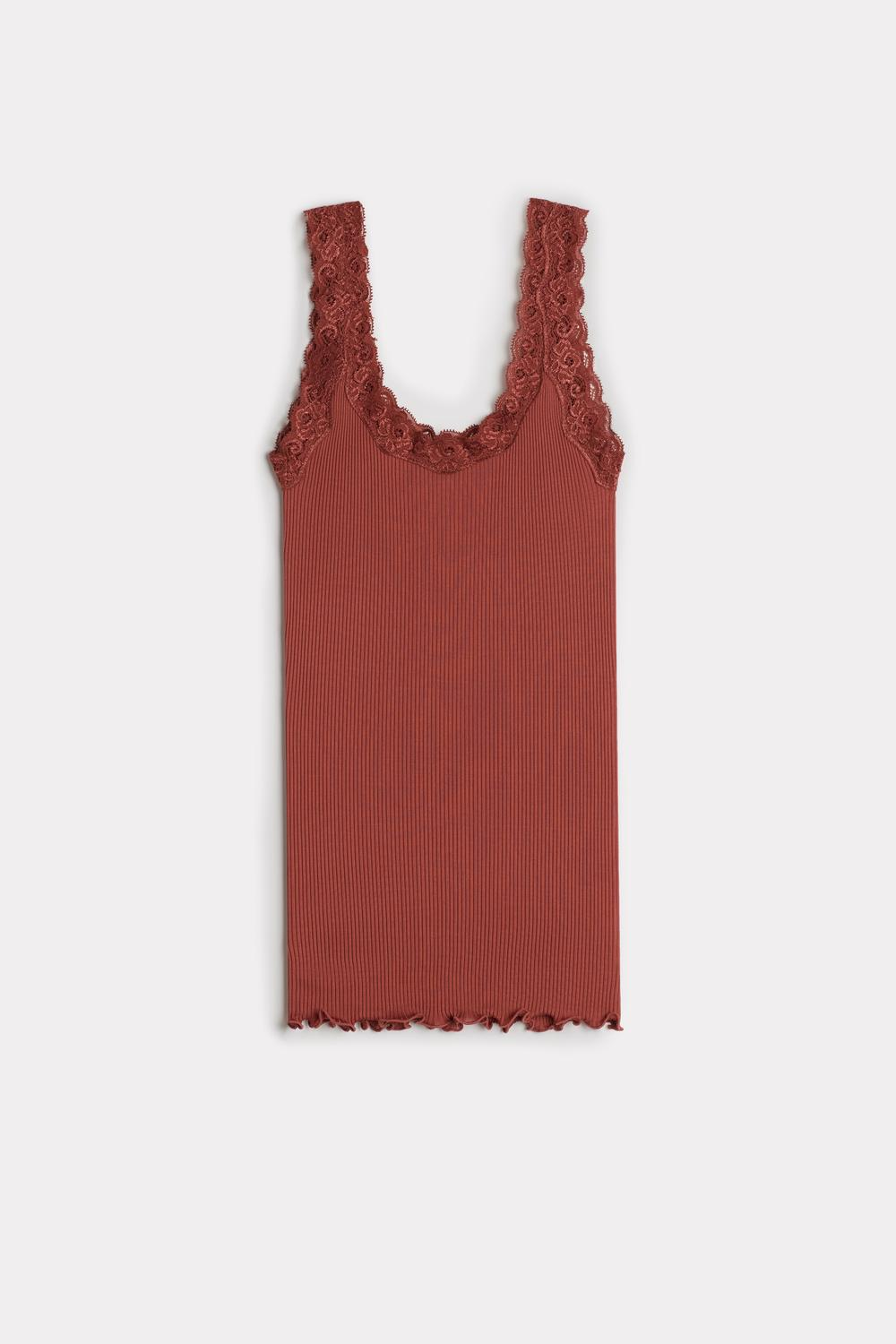 Silk Top with Lace Neckline