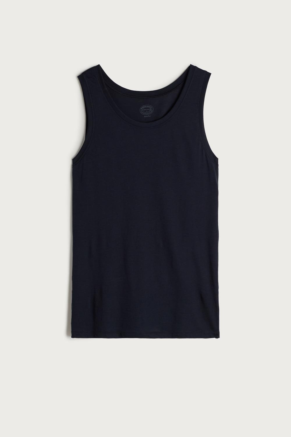 Supima Cotton Vest Top with Round Neck