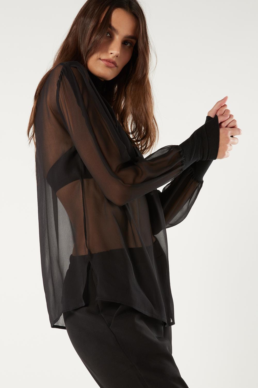 Puff Sleeved Turtleneck Silk Shirt