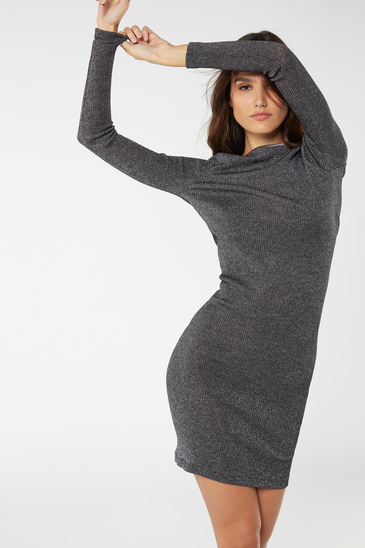 Wool and Silk Tubular Boat-Neck Dress