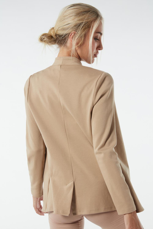 Long-Sleeved Cotton Interlock Cardigan