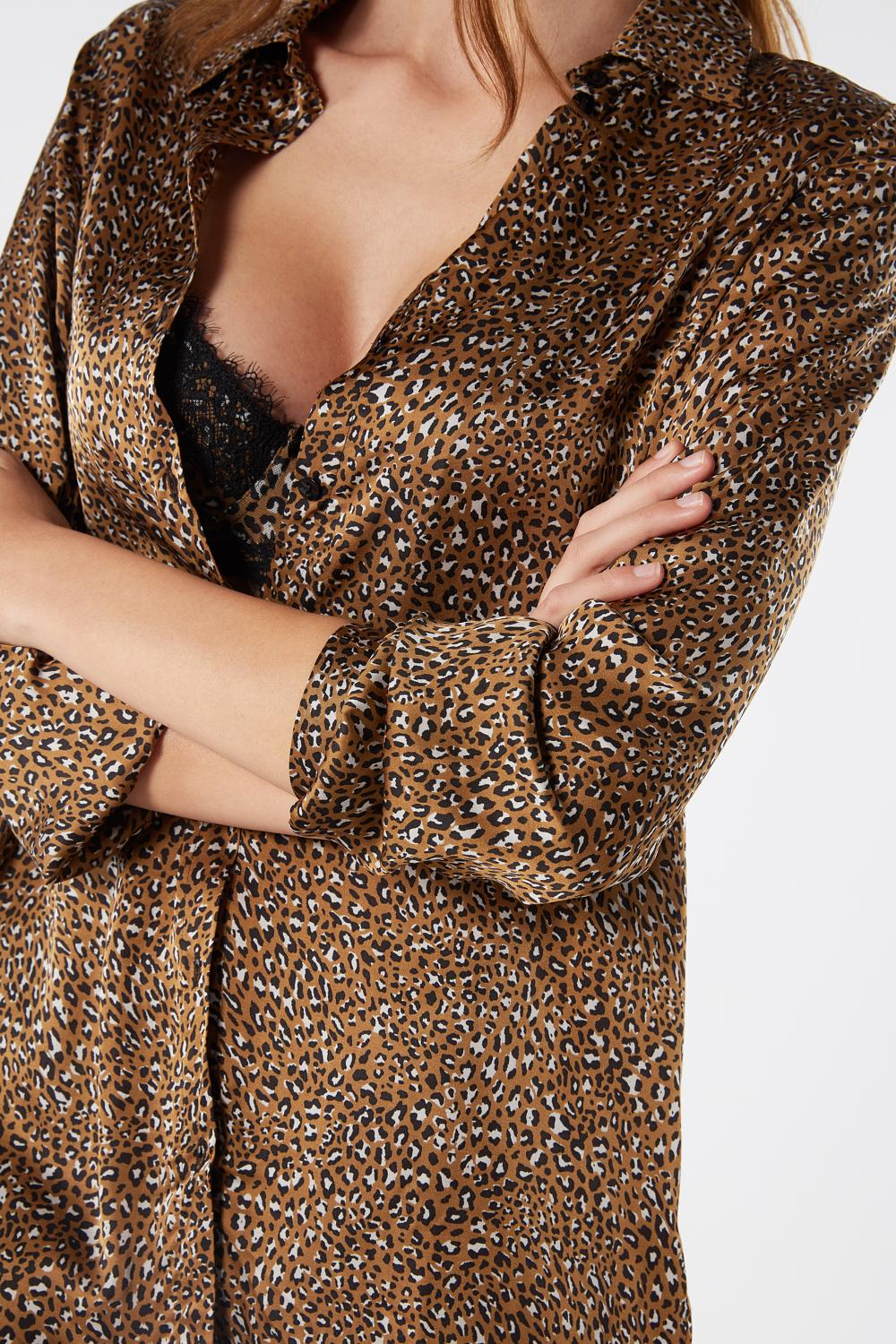 Wild Animalier Viscose Satin Long-sleeved Shirt