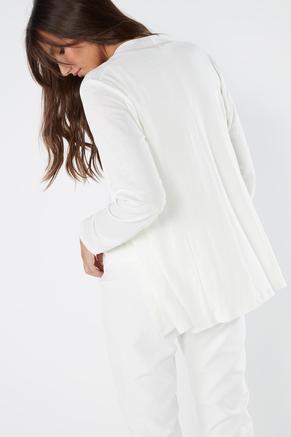 Long-Sleeve Open-Front Cardigan in Modal Cashmere