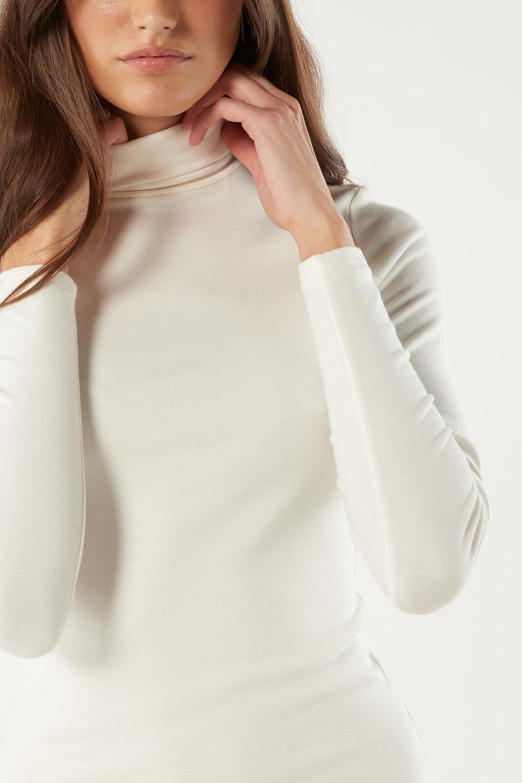 Maglia a Maniche Lunghe e Collo Alto in Modal e Cashmere
