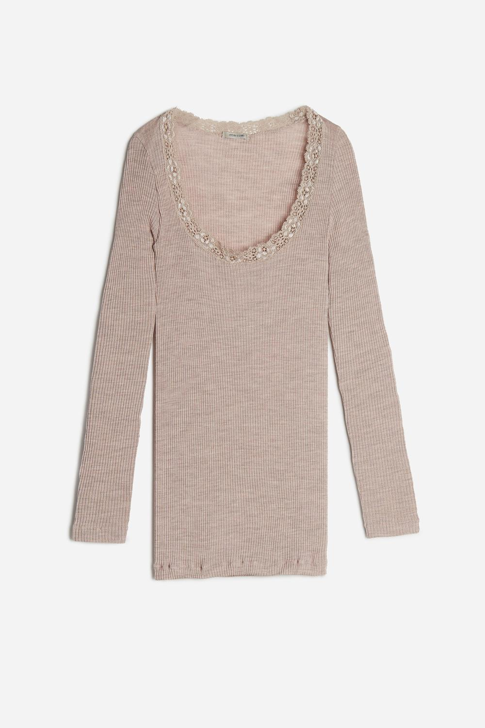 Silk and Wool Top with Lace-Detail Neckline
