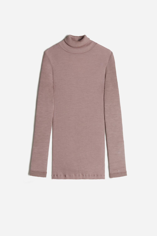Wool and Silk Long-sleeve High-Neck Tubular Top