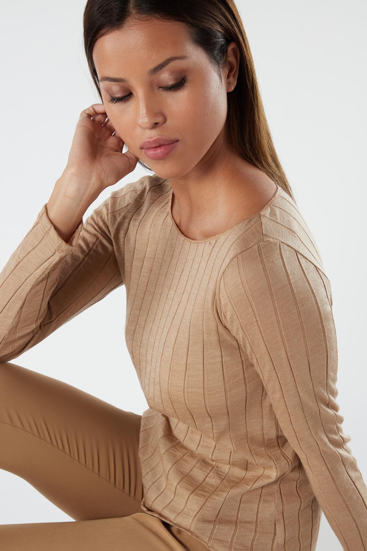 Wool and Silk Ribbed Boat-neck Shirt