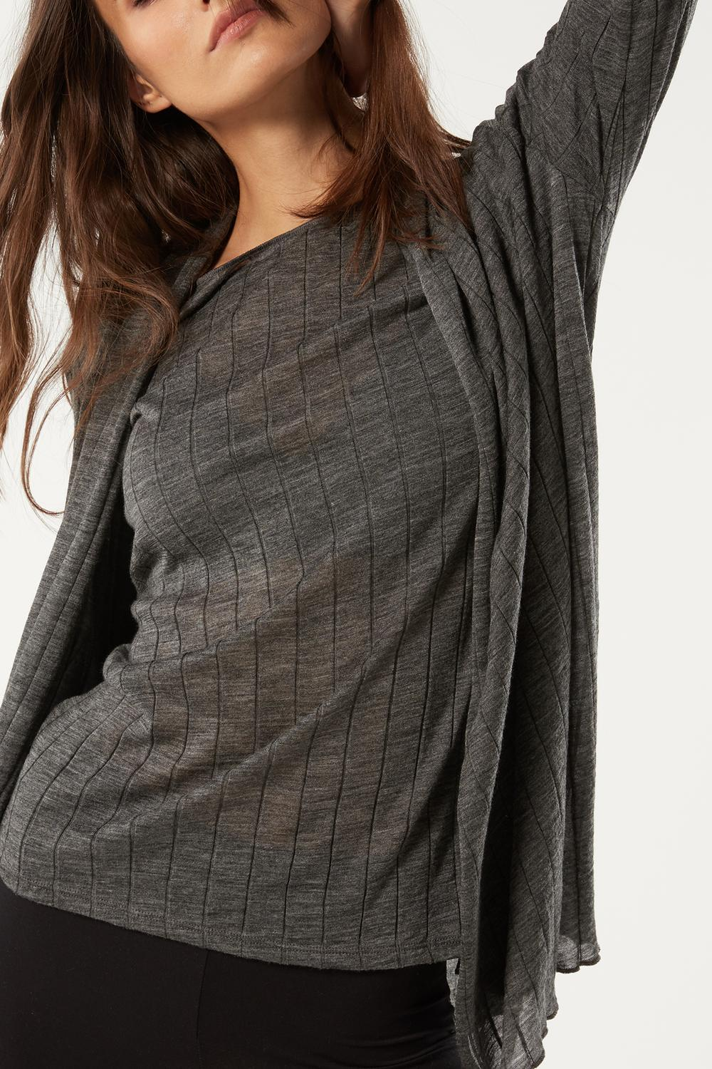 Wool and Silk Ribbed Cardigan