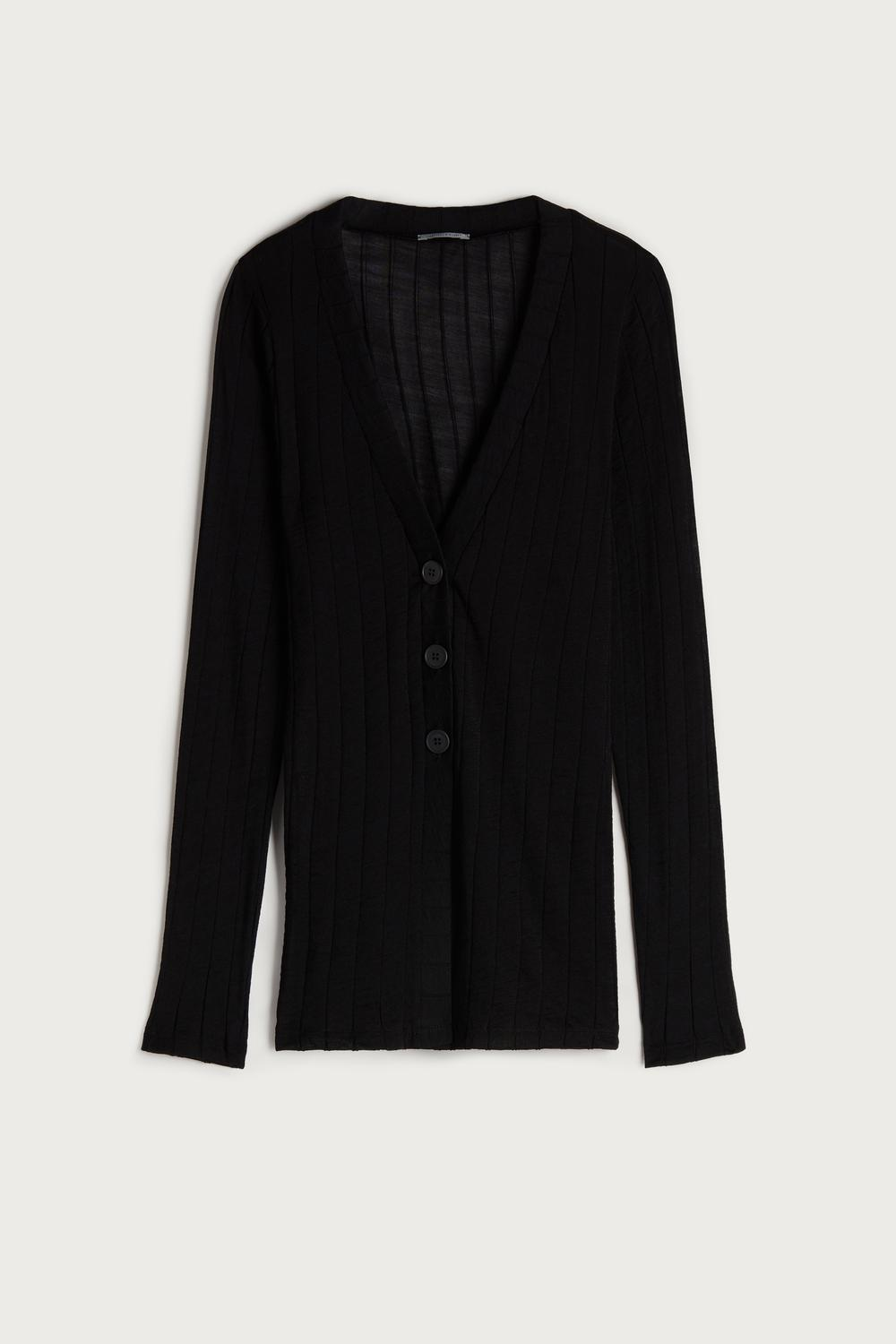 Buttoned Wool and Silk Ribbed Cardigan