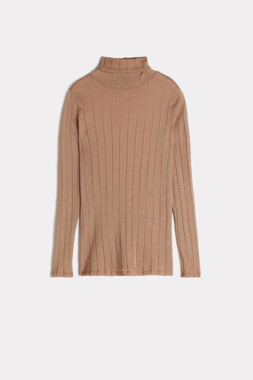 Long-sleeved Wool And Silk Turtleneck