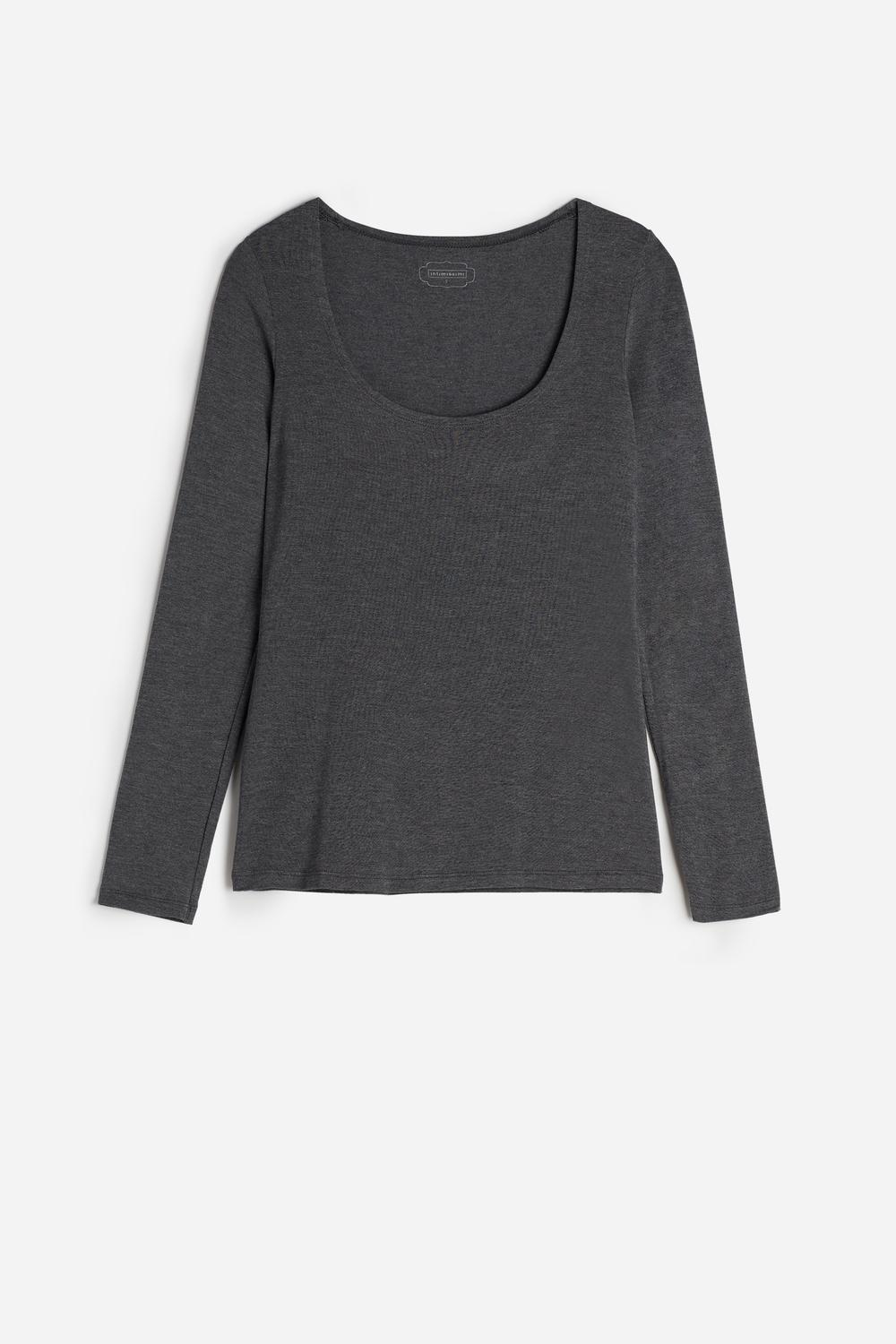 Long-Sleeve Scoop-Neck Micromodal Top