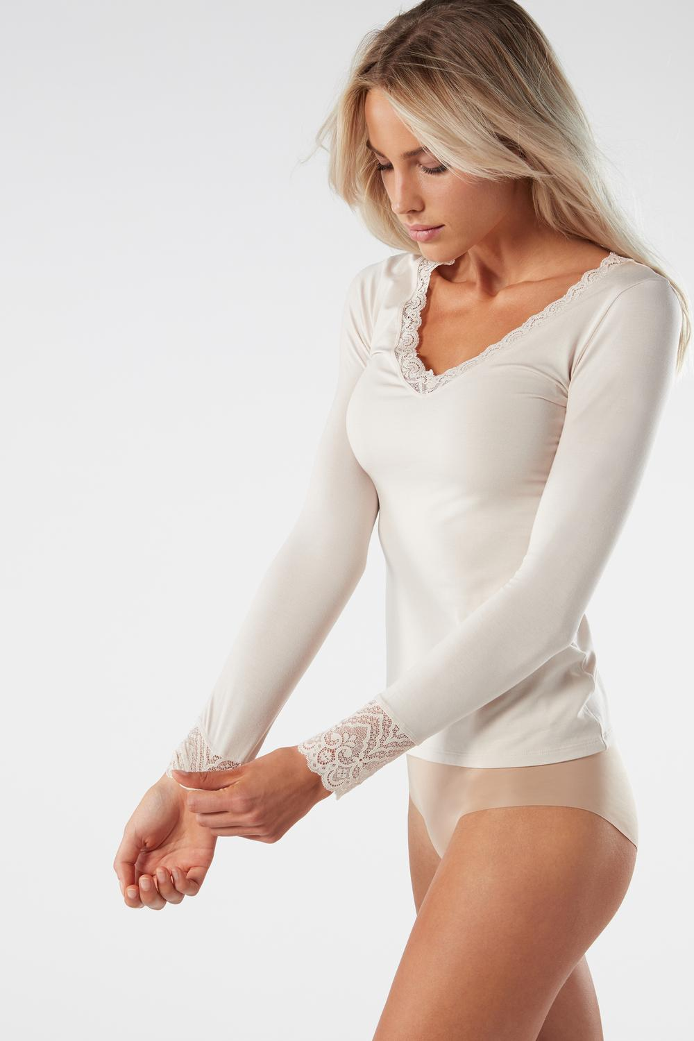 Long-Sleeve Modal Top with Lace Inserts