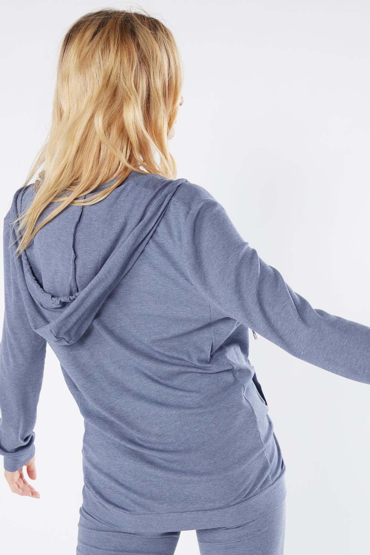 Ribbed Modal Blend Hooded Sweatshirt