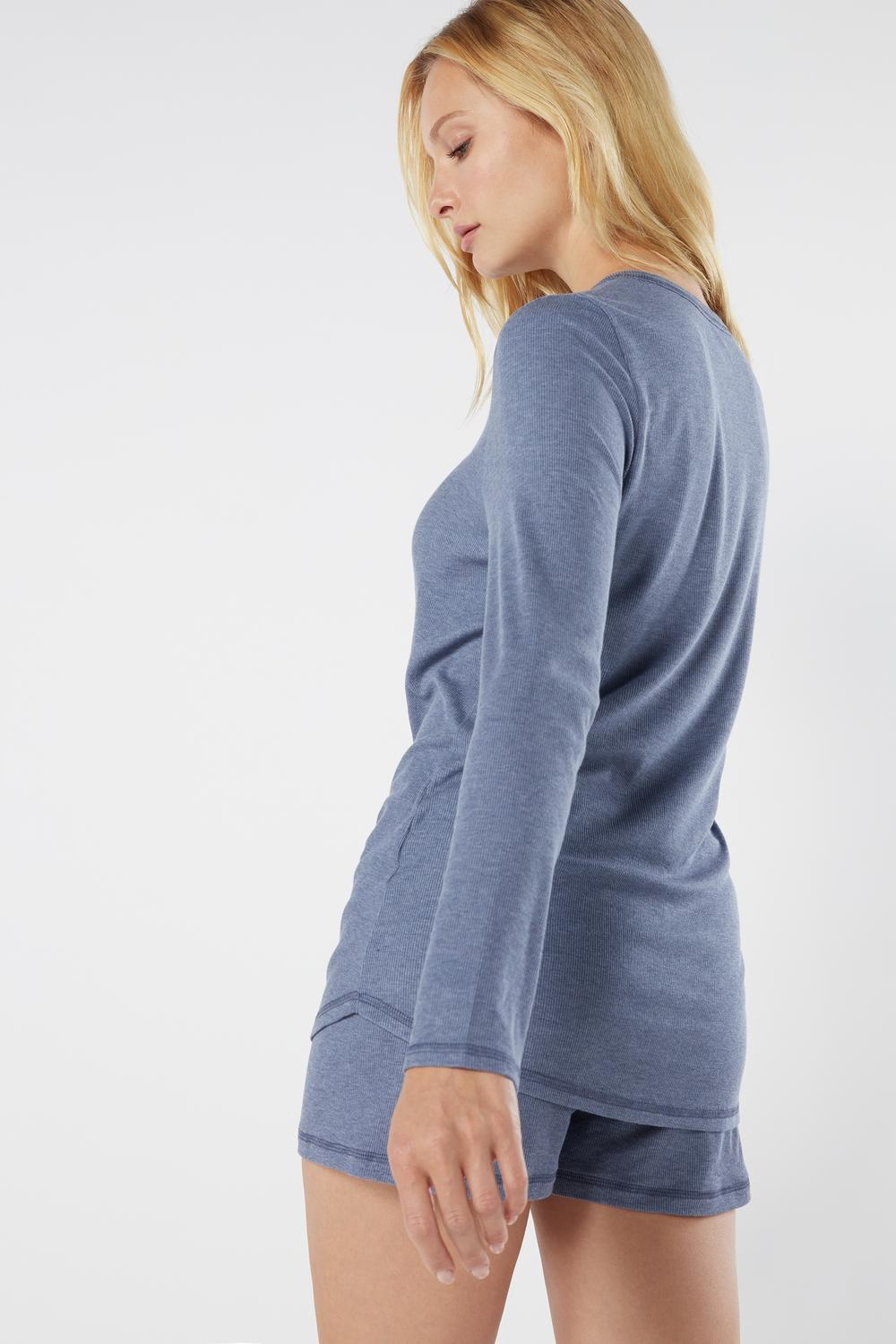 Long-Sleeved Ribbed Modal Blend Top