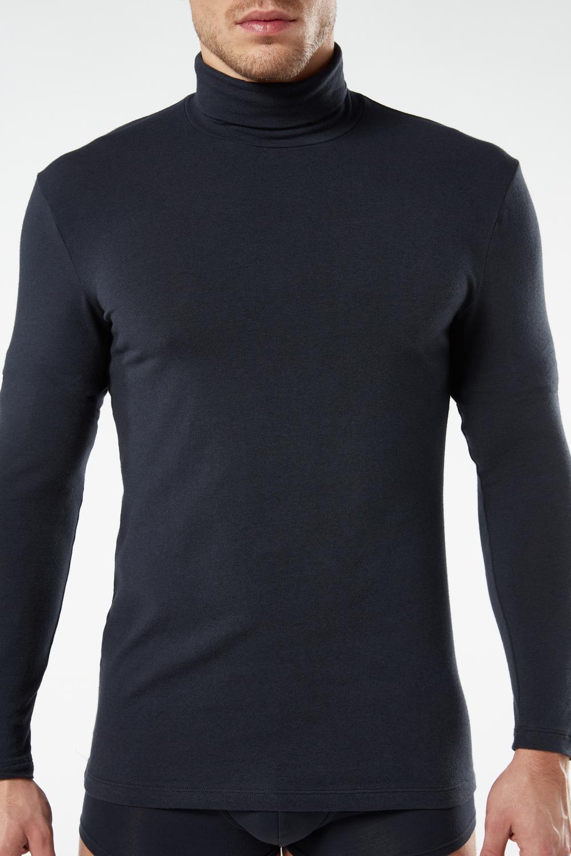Langarmshirt aus Baumwolle und Cashmere mit Rollkragen