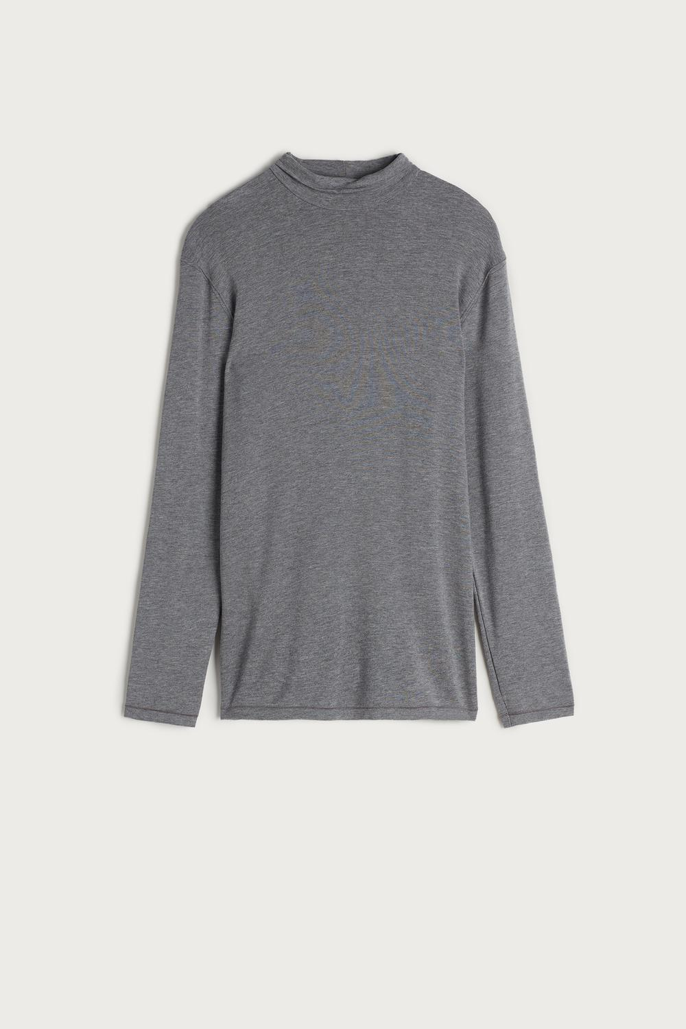 Long-sleeve High-Neck Modal-Cashmere Top