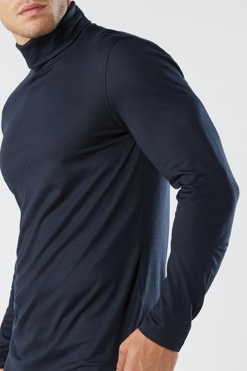 Long-sleeve High-Neck Merino-Wool Top