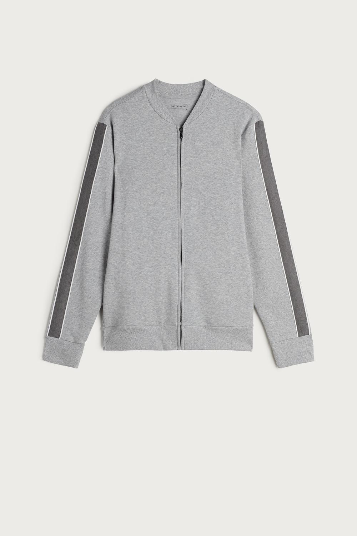 Stripe Bomber Collar Zipped Fleece