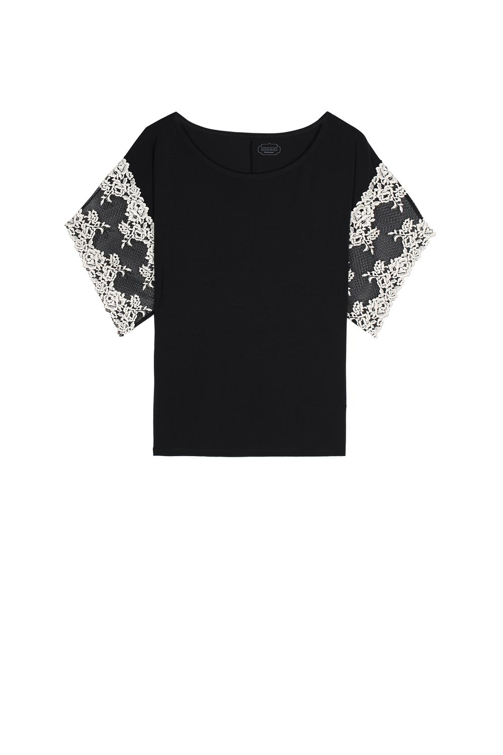 Pretty Flowers Short-Sleeve Top in Modal and Lace
