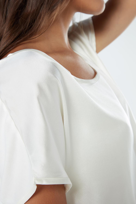 T-Shirt en Soie et Modal à Coupe Kimono