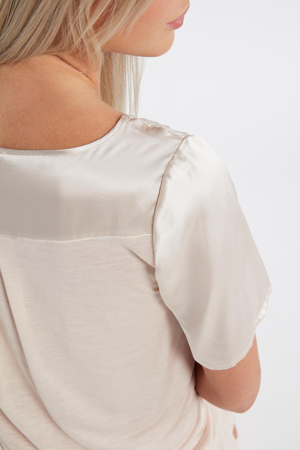Short-Sleeved Silk and Lyocell Top