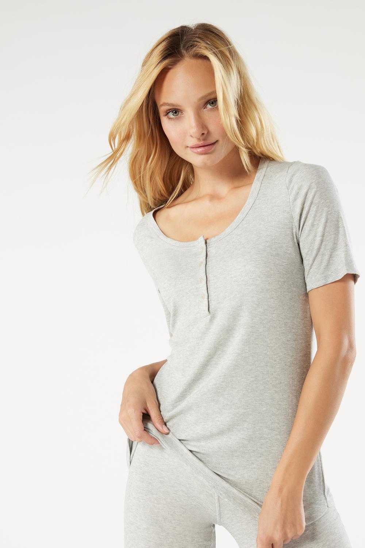 Short-Sleeved Ribbed Modal Blend Top