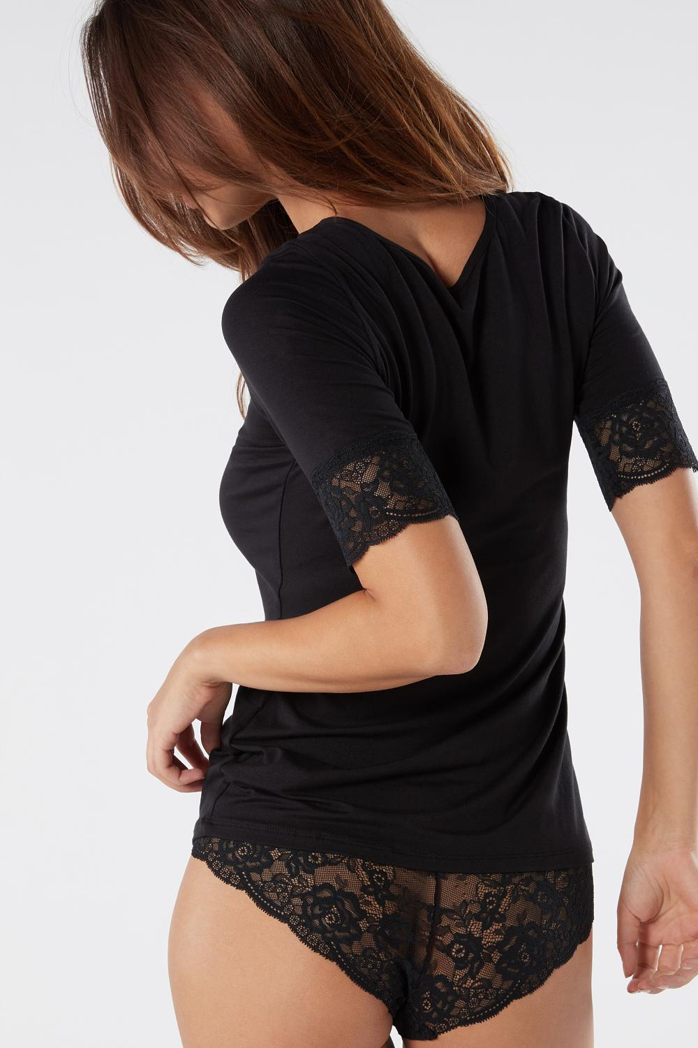 Short-Sleeve Modal Top with Lace Inserts