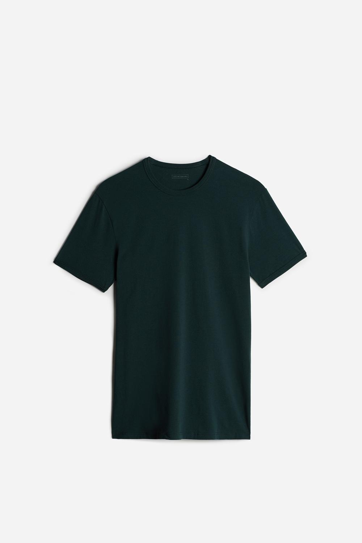 T-shirt Ras de Cou en Coton Élastique