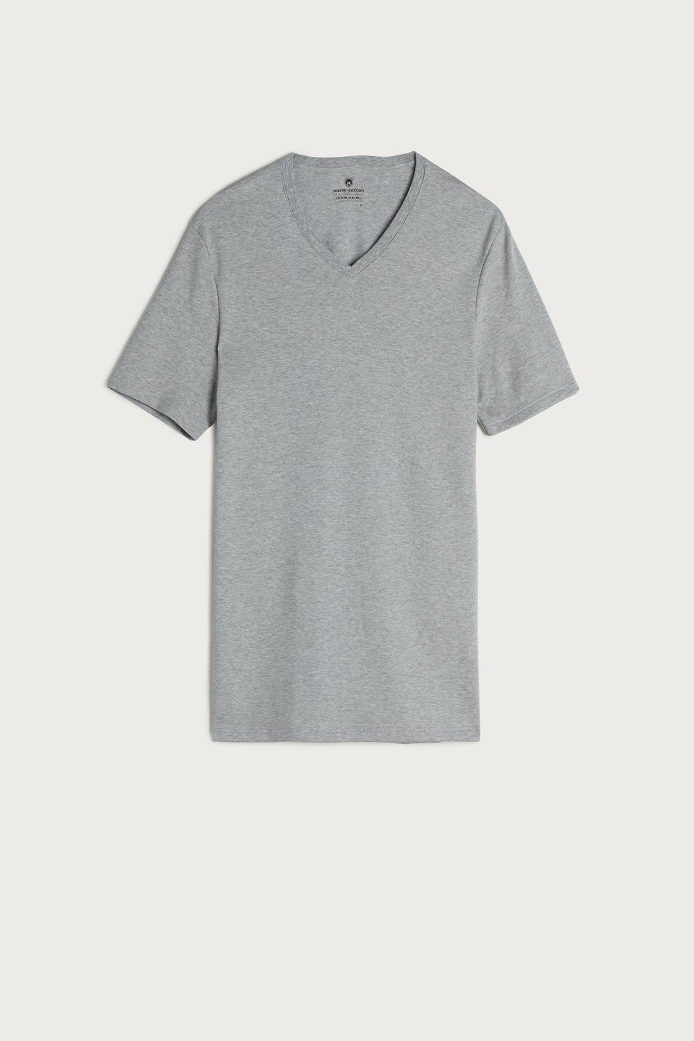 Short-Sleeve V-Neck Warm-Handle Cotton Top