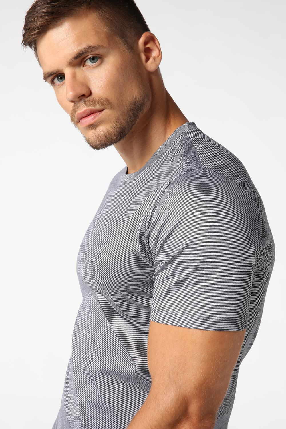 Pinstripe Lisle-Yarn Top with Short Sleeves