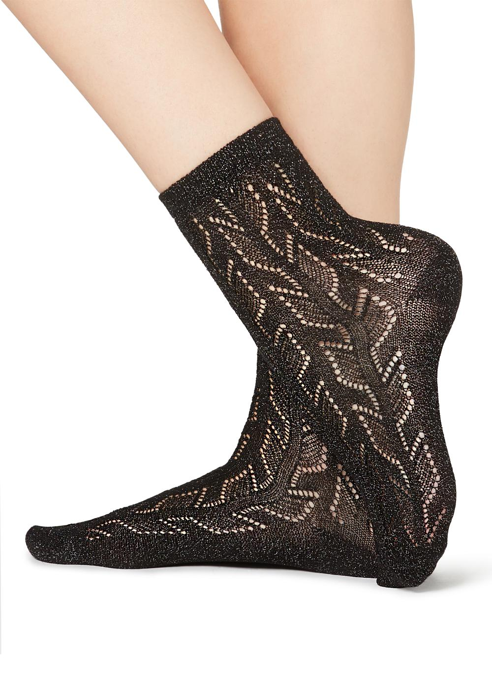 Patterned Appliqué Short Socks