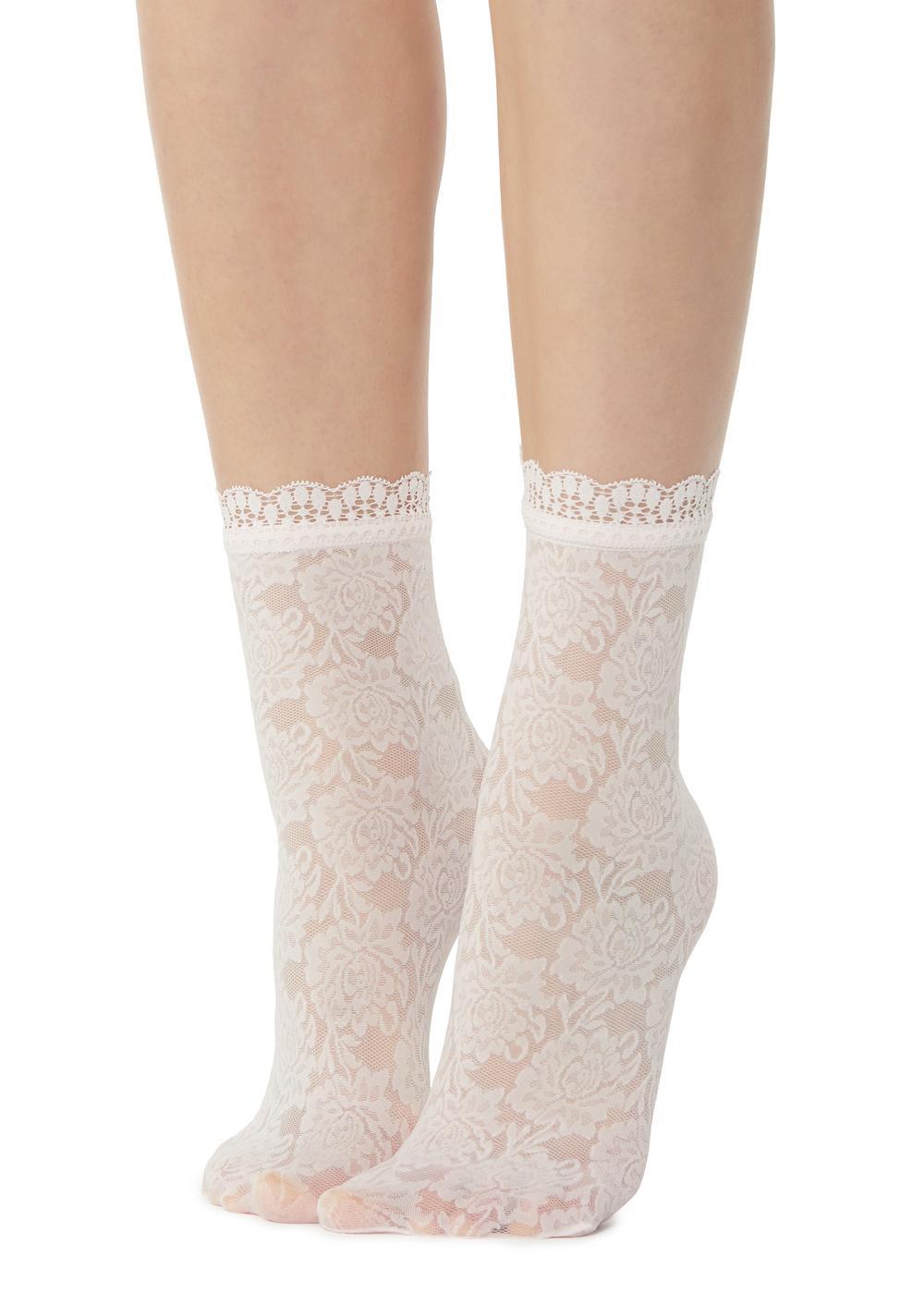 Modische Socken mit Blumenmuster und Spitze