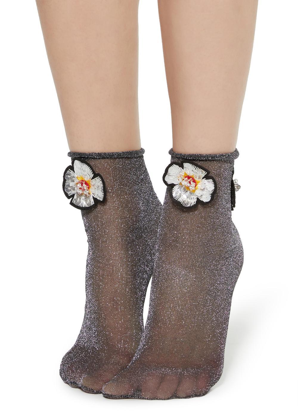 Fancy socks with appliqué details