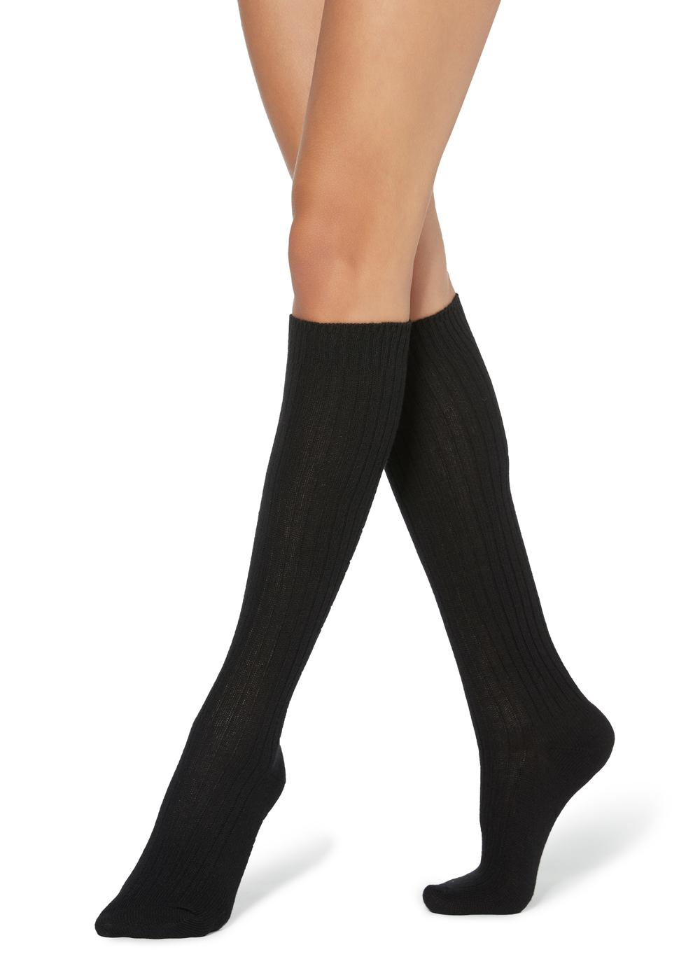 Long Ribbed Socks with Wool and Cashmere