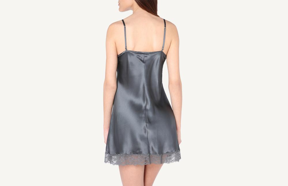 Silk Slip with Lace Insert Detail