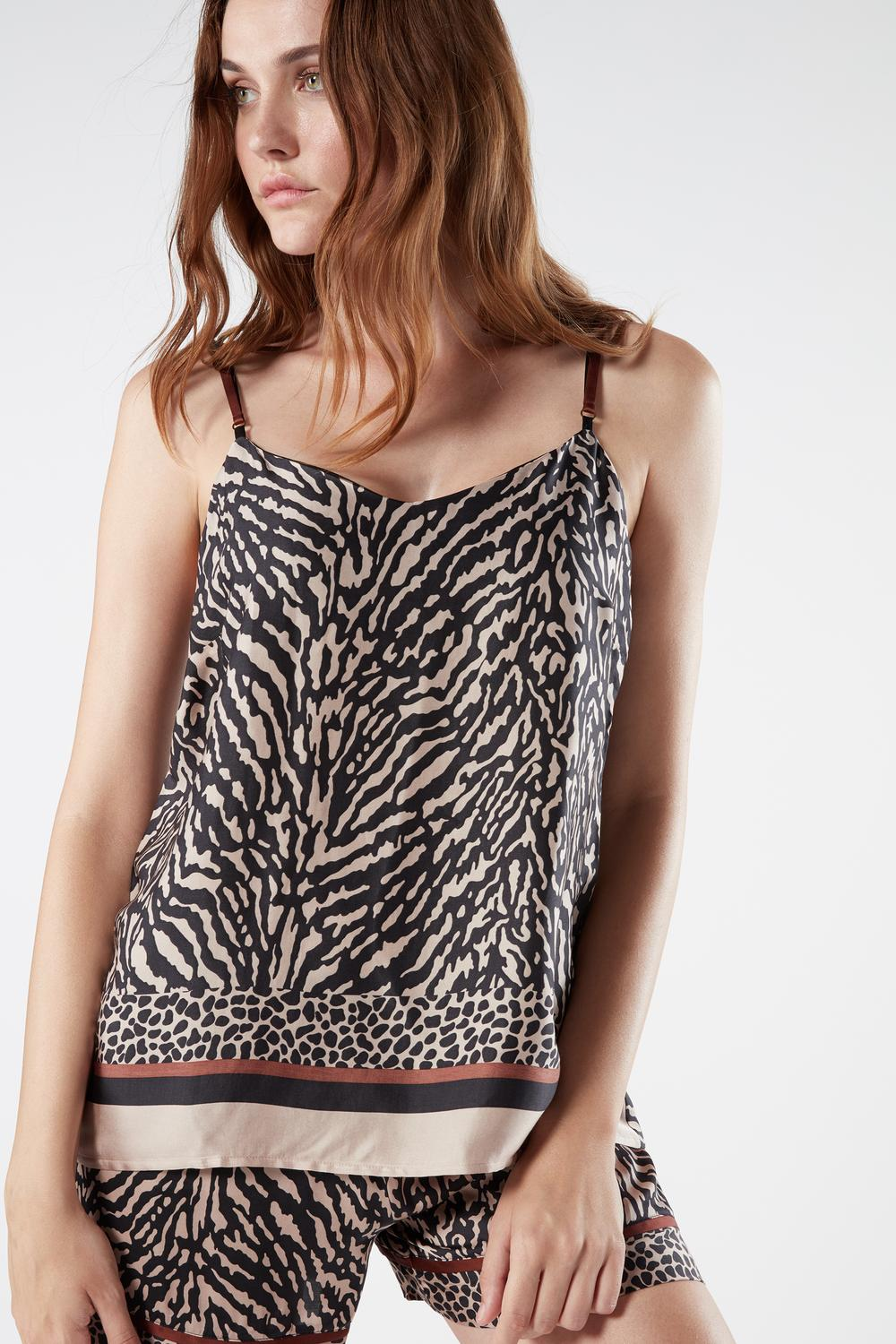 Zebra Stripes Top aus Viskosesatin