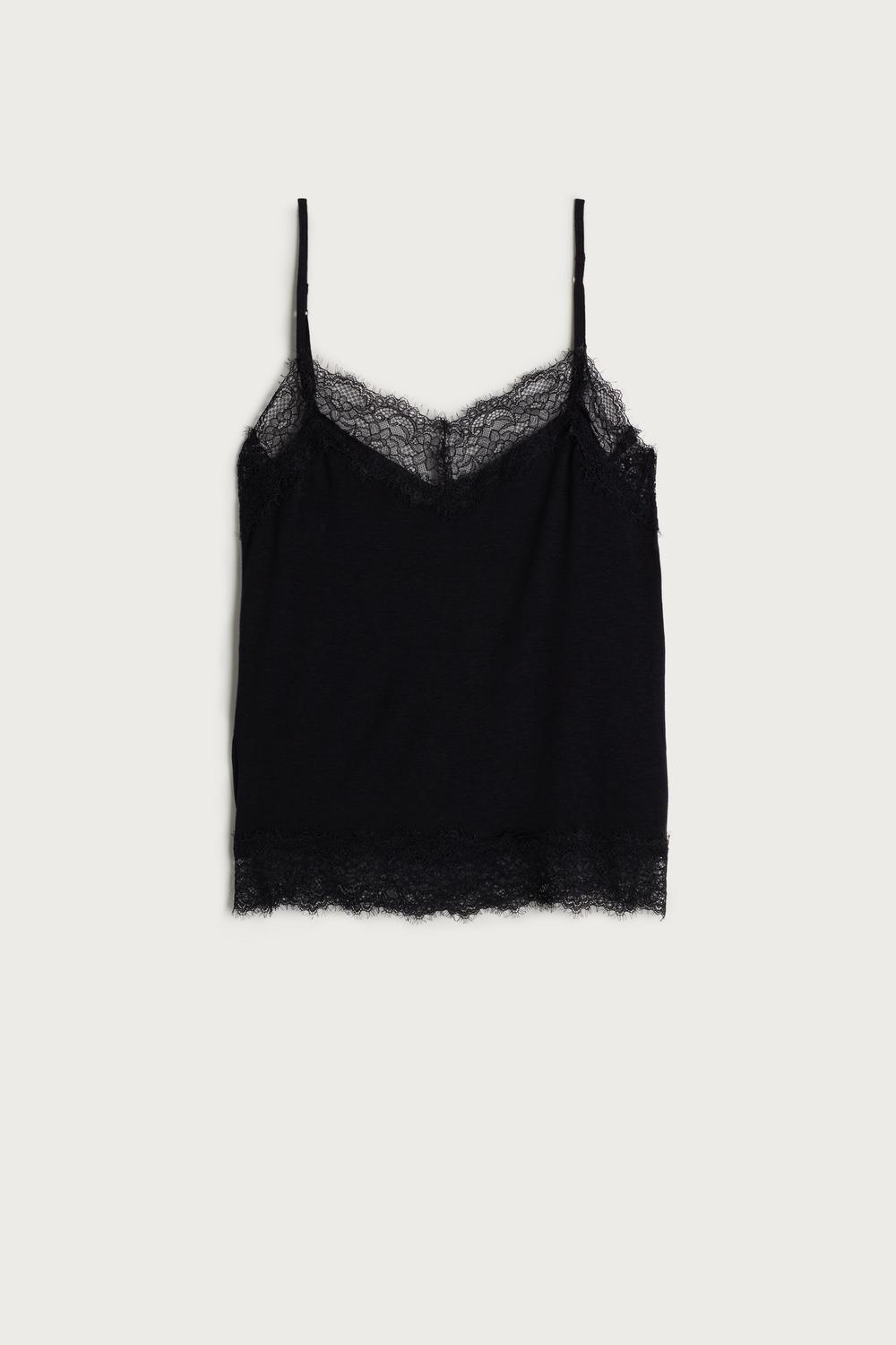 Modal and Cashmere Top with Lace