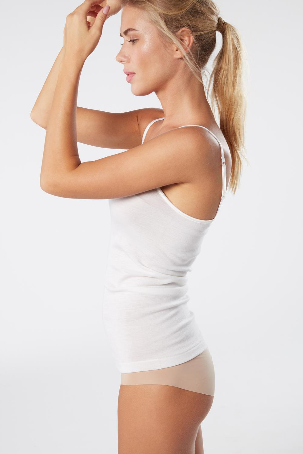 Rib-Knit Top in Wool and Silk with Satin Straps